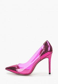 Женские розовые кожаные лаковые туфли на платформе
