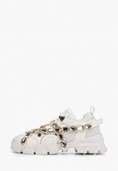 Женские белые осенние кожаные кроссовки
