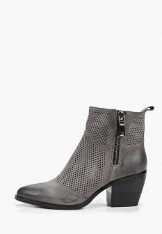 Женские серые осенние кожаные ботильоны на каблуке