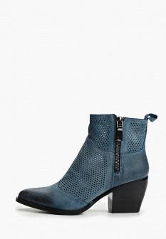 Женские синие осенние кожаные ботильоны на каблуке