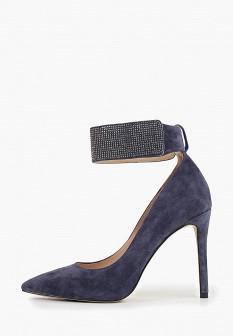 Женские синие осенние туфли на каблуке