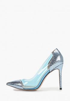 Женские голубые кожаные туфли на каблуке на платформе