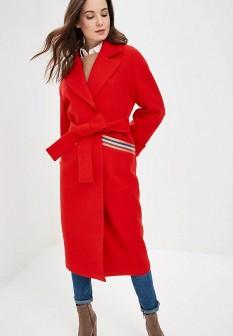 Женское красное осеннее пальто