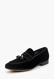 Мужские черные текстильные туфли лоферы