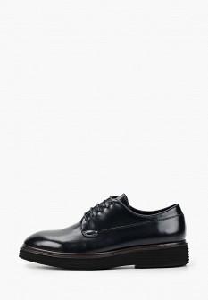 Мужские синие осенние кожаные лаковые туфли