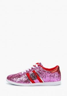 Женские розовые осенние текстильные кеды