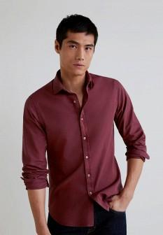 Мужская бордовая рубашка MANGO MAN