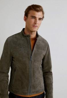Мужская серая кожаная куртка