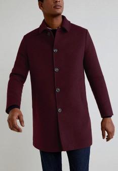 Мужское бордовое пальто MANGO MAN