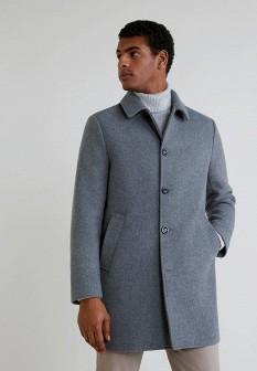 Мужское серое пальто MANGO MAN