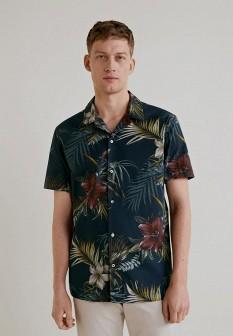 Мужская бирюзовая рубашка MANGO MAN