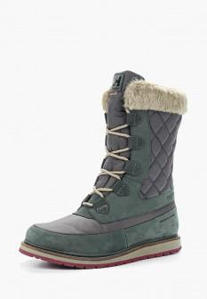 Женские зеленые осенние ботинки с мехом
