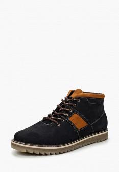 Мужские синие осенние ботинки из нубука