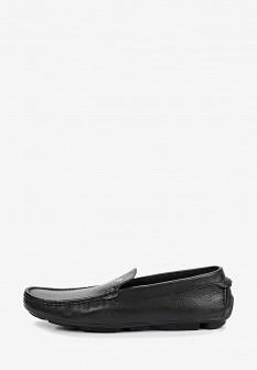 Мужские черные кожаные летние мокасины