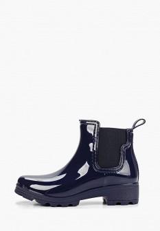 Женские синие сапоги на каблуке