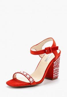 Женские красные текстильные босоножки на каблуке