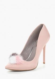 Женские розовые текстильные туфли на каблуке