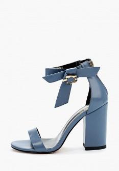 Женские синие кожаные босоножки на каблуке