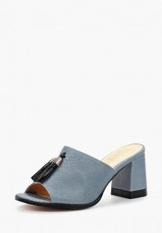 Женские голубые сабо из искусственной кожи на каблуке
