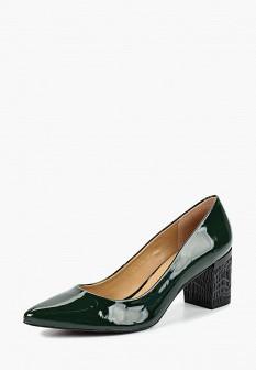 Женские зеленые осенние кожаные лаковые туфли