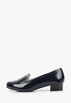 Женские синие кожаные лаковые туфли на каблуке