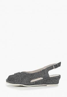 Женские серые кожаные босоножки на каблуке