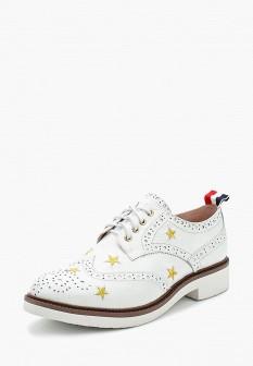 Женские белые осенние кожаные ботинки на каблуке