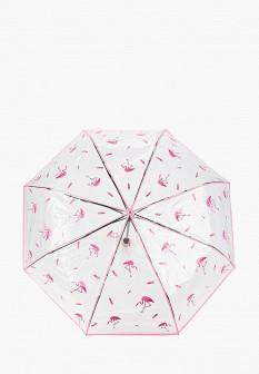 Женский розовый осенний складной зонт