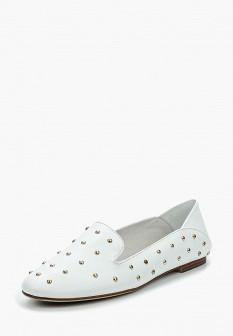 Женские белые кожаные туфли лоферы