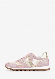 Женские розовые осенние кожаные кроссовки