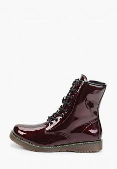 Женские бордовые осенние кожаные ботинки на платформе