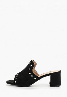 Женские черные сабо на каблуке