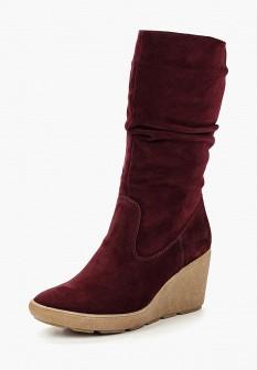 Женские бордовые осенние сапоги на каблуке