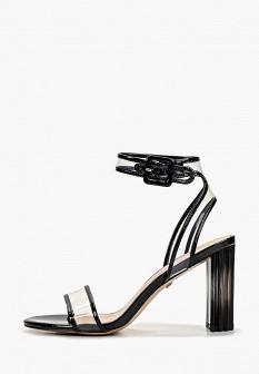 Женские черные кожаные лаковые босоножки на каблуке