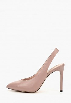 Женские розовые кожаные туфли на каблуке
