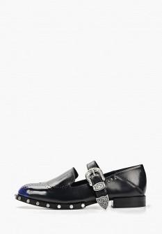 Женские синие осенние кожаные туфли