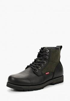 Мужские черные осенние кожаные ботинки из войлока