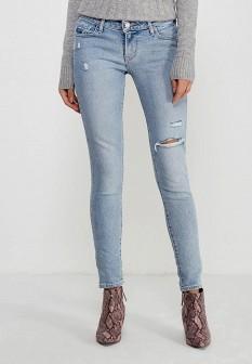 Женские голубые осенние джинсы скинни