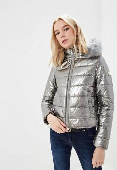 Женская утепленная осенняя серебряная куртка
