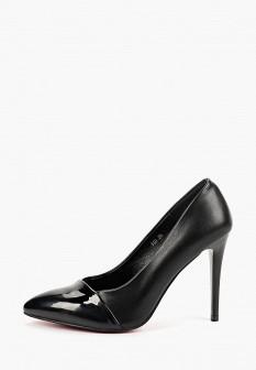 Женские черные кожаные лаковые туфли на каблуке