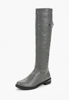Серые осенние кожаные ботфорты