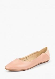 Женские розовые осенние кожаные балетки
