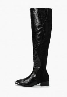 Черные осенние кожаные лаковые ботфорты