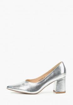 Женские серебряные кожаные туфли на каблуке
