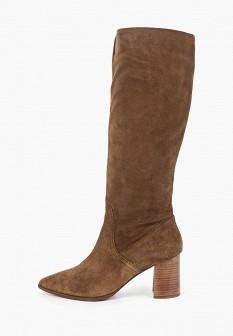 Женские коричневые полиуретановые сапоги на каблуке