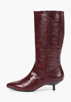 Женские бордовые кожаные сапоги на каблуке