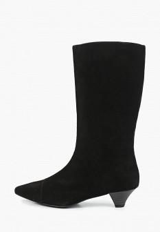 Женские черные сапоги на каблуке