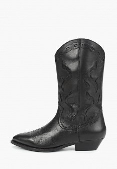 Женские черные кожаные сапоги на каблуке