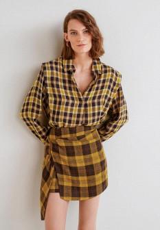 Женская желтая осенняя рубашка