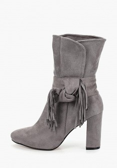 Женские серые осенние сапоги на каблуке